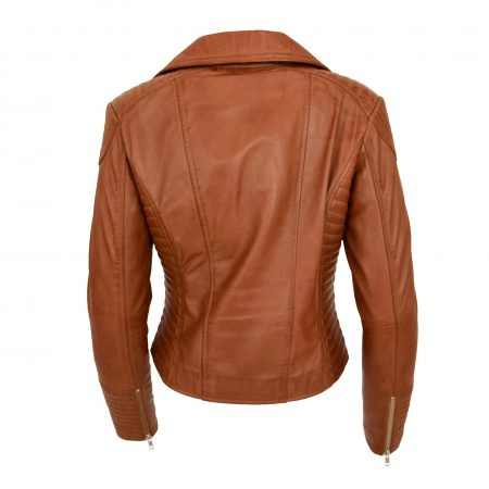 Womens Soft Leather Cross Zip Biker Jacket Anna Tan