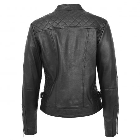 Womens Soft Leather Casual Zip Biker Jacket Ruby Black