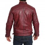 Mens Biker Leather Jacket Standing Collar Bowie Burgundy