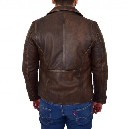 Mens Biker Leather Jacket Dual Zip Hook Brown Vintage