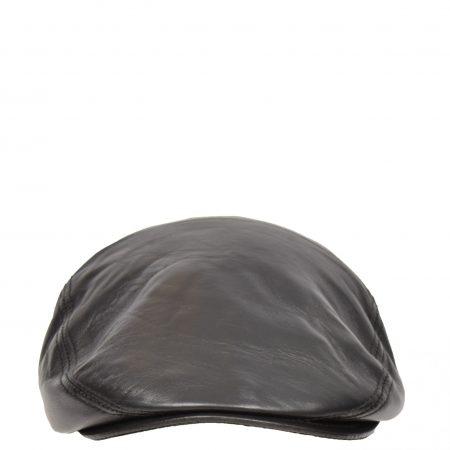 Soft Leather Classic Flat Cap Black