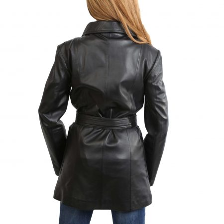 Womens Leather Trench Coat with Belt Shania Black
