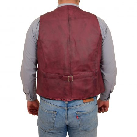 Mens Button Fastening Leather Waistcoat Nick Burgundy