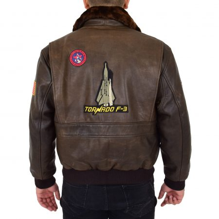 Mens Bomber Leather Jacket Air Force Style Lester Brown