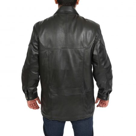 Mens Classic Leather Winter Car Coat M2 Black