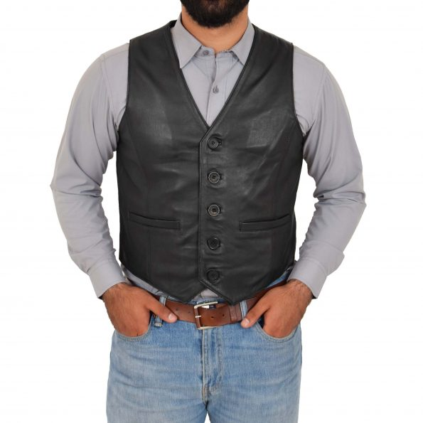 Mens Button Fastening Leather Waistcoat Nick Black