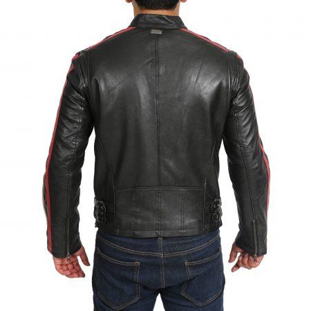 Men's Biker Striped Leather Jacket Black