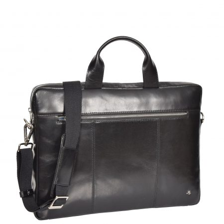 Slimline Cross Body Leather Briefcase Vernon Black