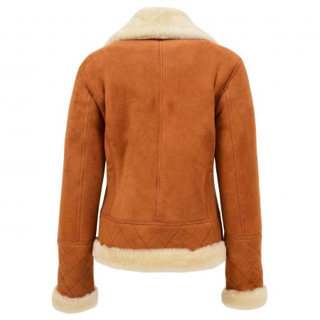 Womens Merino Sheepskin Aviator Jacket Isabelle Tan