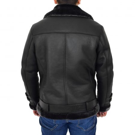 Mens Sheepskin Aviator Jacket Cross Zip Biker Style Alvin Black