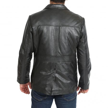 Mens Leather Classic Reefer Jacket Thrill Black