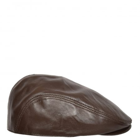 Soft Leather Classic Flat Cap Brown