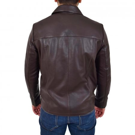 Mens Leather Zip Box Harrington Jacket James Brown