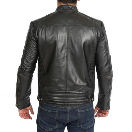 Mens Leather Cafe Racer Biker Jacket Ron Black