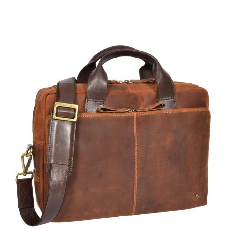 Mens Cross Body Leather Laptop Bag Malibu Tan