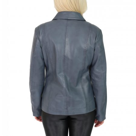 Womens Classic Zip Fastening Leather Jacket Julia Blue