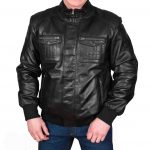 Mens Leather Bomber Jacket Slim Fit Tom Black