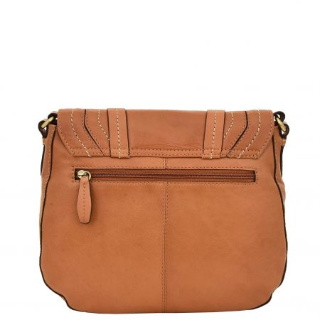 Womens Classic Soft Leather Cross Body Bag Mary Tan