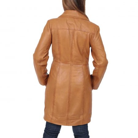Womens 3/4 Length Soft Leather Classic Coat Macey Tan