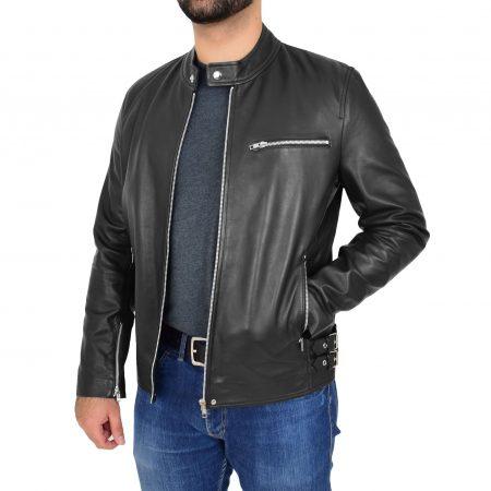 Mens Leather Cafe Racer Causal Biker Jacket Gerard Black
