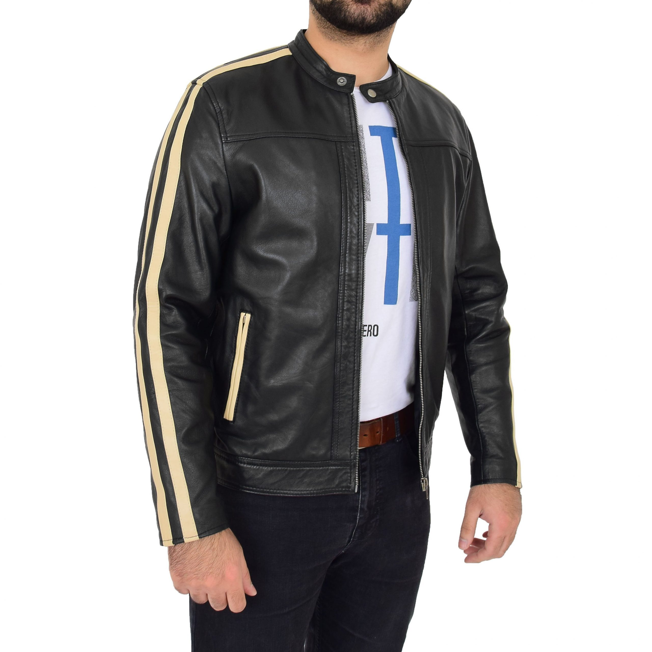 Mens Leather Biker Jacket with Racing Stripes Clyde Black