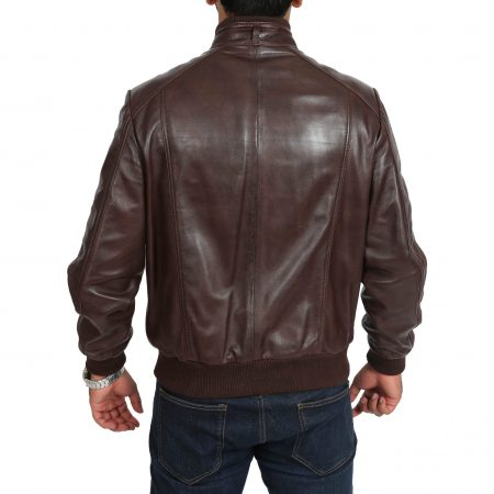 Mens Leather Bomber Jacket Slim Fit Tom Brown