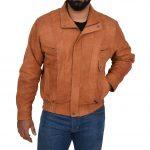 Mens Leather Bomber Blouson Jacket Robert Tan