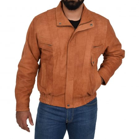 Mens Leather Bomber Blouson Jacket Robert Tan