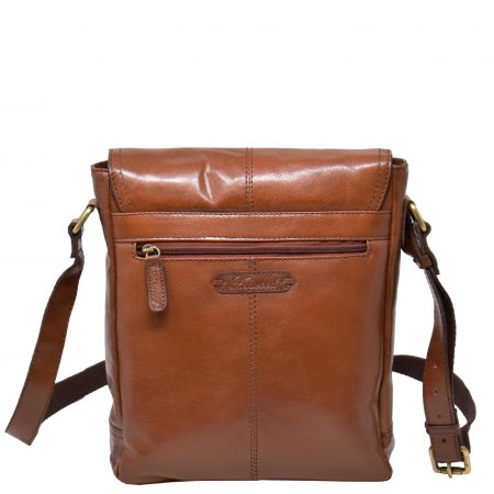 Mens Leather Cross Body Casual Bag HOL14 Tan