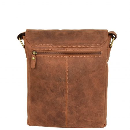 Mens Leather Cross Body Flight Bag Pouch Evan Tan