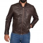 Men's Standing Collar Leather Jacket Tony Brown