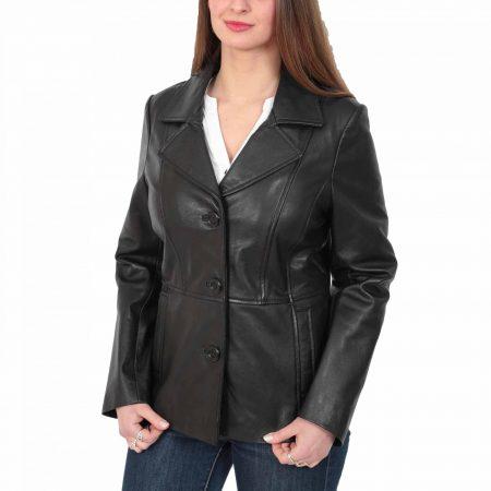 Women's 3-Buttoned Black Leather Blazer