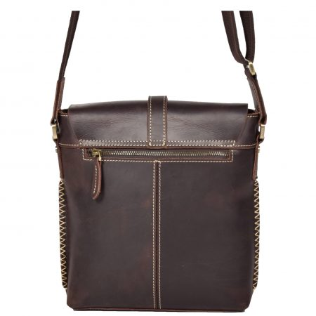 Casual Leather Cross Body Man Bag H8086 Brown