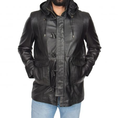 Mens Leather Duffle Coat with Hoodie Jack Black