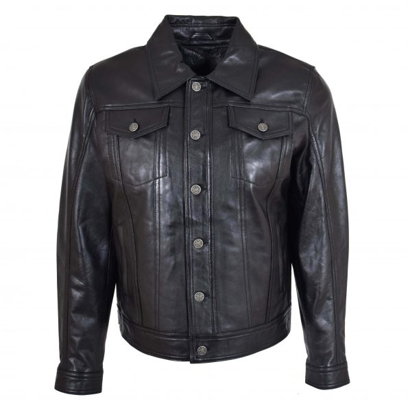 Mens Leather Lee Rider Casual Jacket Terry Black