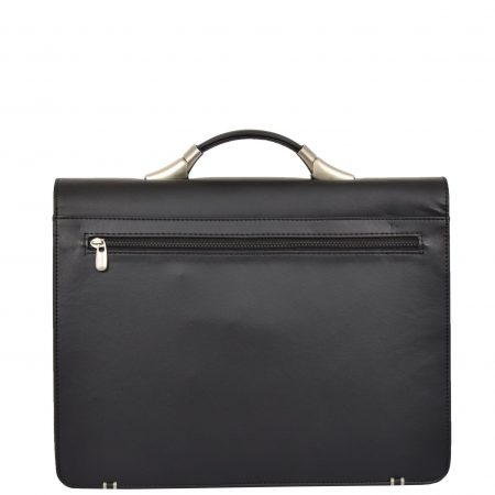 Leather Look Cross Body Briefcase H75 Black