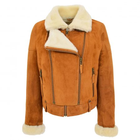 Womens Sheepskin Aviator Pilot Jacket Nora Tan White