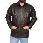 Mens Leather Winter Car Coat Hip Length Jason Brown