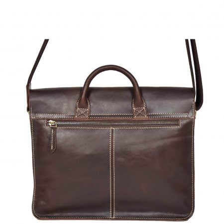 Womens Leather Classic Satchel Style Bag H8109 Brown