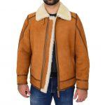 Mens Classic Top Gun Sheepskin B3 Jacket Dean Tan White