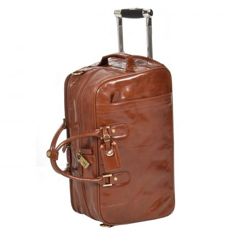 Exclusive Leather Wheeled Holdall Mexico Chestnut tan
