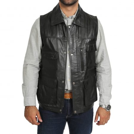 Mens Leather Multi Purpose Gilet Roger Black