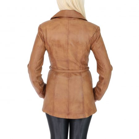 Womens Leather Mid Length Jacket with Tie Belt Aby Tan