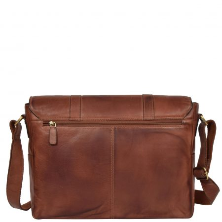 Mens Vintage Leather Cross Body Bag Randy Tan