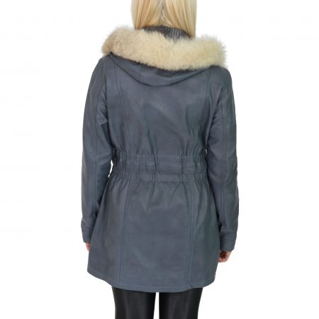 Womens Detachable Hoodie Leather Coat Kathy Blue