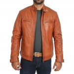 Mens Biker Leather Jacket Standing Collar Bowie Cognac Tan