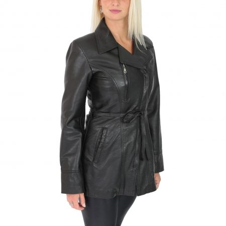 Womens Leather Mid Length Jacket with Tie Belt Aby Black
