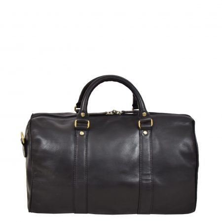 Leather Holdall Small Size Barrel Shape Duffle Bag Athens Black