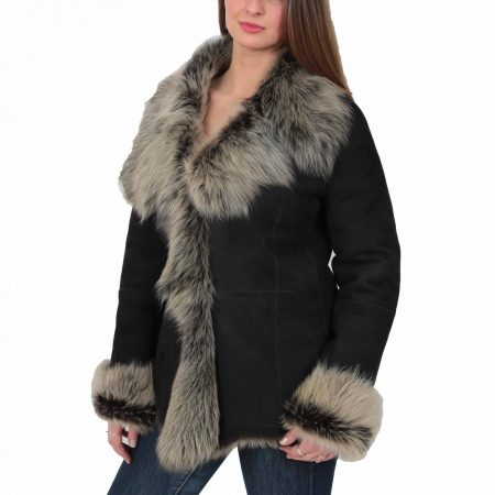 Womens Sheepskin Shearling Toscana Jacket Black Brissa