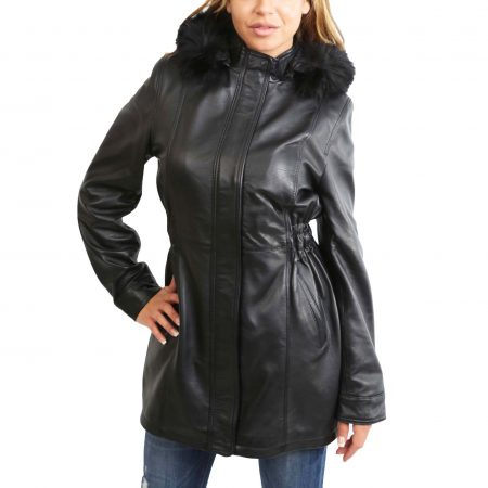 Womens Detachable Hoodie Leather Coat Kathy Black